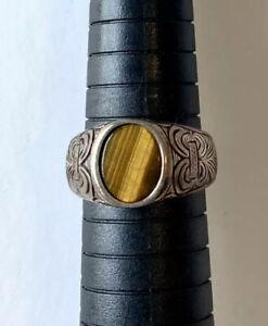 ottoman style silver ring natural cats eye flat-cut cabochon stone & engravings