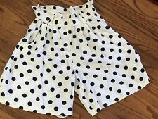 Vintage Wrapper Usa Womens Dots Polka Short Pants Whit Blue High Elastic Wrist S