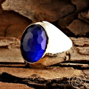 Unique Men Sapphire Simple Ring For Man Blue Stone Wedding Jewelry Masculine New