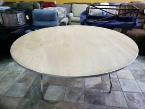 72'' Round Wood Folding Banquette Table