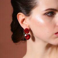 Fashion Rose Heart Flower Crystal Rhinestone Earrings Ear Stud Dangle Hoop Women