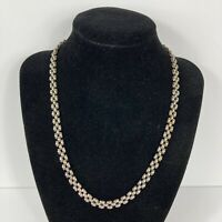 """925 Italy 3-Row Flat Back Rounded Top Link Chain Necklace 18"""" Long Lobster Clasp"""