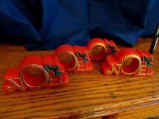 Vtg Set of 4 NOEL Holly Berries Napkin Ring/Holder Hallmark?