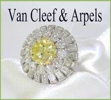 VAN CLEEF & ARPELS PLAT NATURAL FANCY YELLOW DIAMOND WHITE DIAMOND RING  5.55tcw