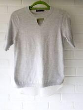 Karen Millen White Grey Cut Out Sheer Back Jumper Top T Shirt Tunic Size 2 8/10