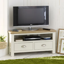 Cotswold Cream Painted Corner TV Unit with Oak Top - Media Cabinet Stand - WT22