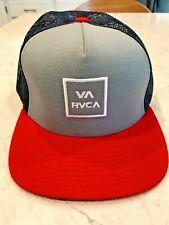 RVCA All the Way Trucker Snapback Hat (Gray, Navy Red)