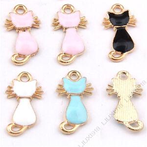 Enamel Gold Plated Charms Cat Animal Pendant DIY Bracelet Necklace Making /984