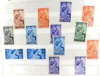 . 14 x 1923 - 1948 KGVI SILVER WEDDING STAMPS. MH. NICE GRADES.