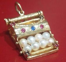 Vintage 1970s Miniature14k Solid Gold 3D Jeweled Typewriter Charm / Pendant