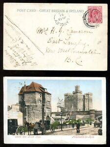 1329 - LANGLEY BC 1904 Split Ring Receiver on Postcard from ENGLAND