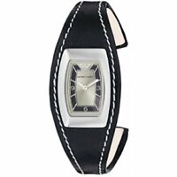 EMPORIO ARMANI $195 WOMEN'S SILVER DIAL BLACK LEATHER BAND CUFF WATCH AR5608