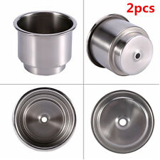 2pcs Silver Stainless Steel Car Truck Cup Drink Bottle Holder For Marine Boat