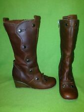 Brown Fly London Zip-Up & Button Snap Mid-Calf Boots 6.5
