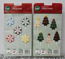 2-SET CHRISTMAS LOLLIPOPS MOLDS Wilton Trees Snowflakes Winter Baking Chocolate
