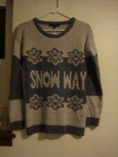 "Derek Heart Gray Scoop Neck Long Sleeve Grey ""Snow"" Snowflake M Winter Sweater"