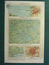 1921 MAP EASTERN EUROPE RUSSIA MOSWCOW ENVIRONS ODESSA PLATEAU OF FINLAND LAKES
