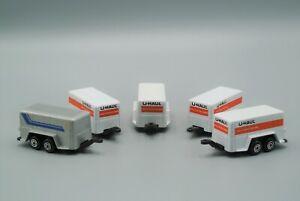 Maisto U-Haul Trailer Lot of 5 Diecast Vehicles White Grey Made in China EX-NM!