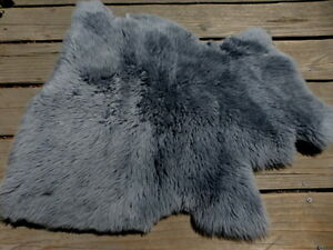 sheepskin leather hide Charcoal Grey Long Thic Toscana Silky Hair w/Smooth back