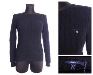 GANT Black Cotton Cable Knit Jumper Sweater Size S