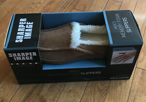 New Sharper Image Adult Memory Foam Slippers Mens Large