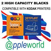 2 Kodak 30b Alta Capacidad Negro Cartuchos de Tinta kd-30bk XL compatible con