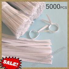"Sale!! - 5000pcs 4"" Paper White Twist Ties for Bakery Cello Bags"