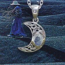 Peter Stone schöner kleiner Mond Anhänger 925 Silber zunehmender Mond Mondstein