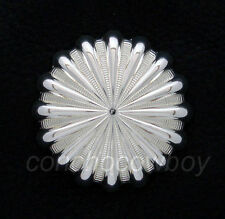 WESTERN HORSE SADDLE TACK BRIGHT SILVER 1 inch PARACHUTE CONCHOS screw back