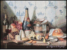 Delft Tiles ~ Food & Wine Cheese Grapes Bread Single Tapestry Placemat