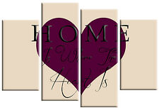 HOME IS WHERE THE HEART IS PLUM PURPLE CREAM CANVAS PICTURE SPLIT WALL ART 100cm