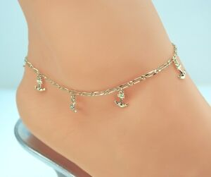 """14KT GOLD CLAD ANKLET ANKLE BRACELET Nautical BEACH ANCHOR CHARM SIZE 9 """"To 13"""""""