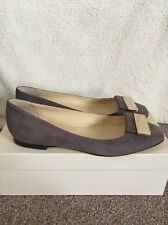 "JIMMY CHOO ""HARLOW' SUE QUARTZ MAUVE SUEDE FLAT PUMPS Shoes Size Uk 4 Eu 37"