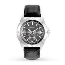 BULOVA 96C113 MARINE STAR UOMO NERO Multifunzione Cinturino in Pelle Quarzo Watch