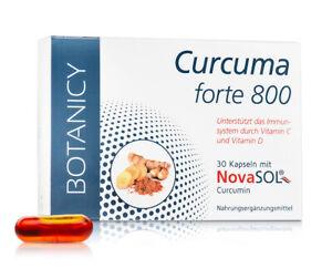 BOTANICY Curcuma Forte 800, 30 Kapseln mit NovaSol Curcumin, Kurkuma hochdosiert