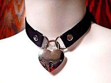 BLACK HEART REAL PADLOCK CHOKER faux suede collar silver skeleton key goth XS 3Z