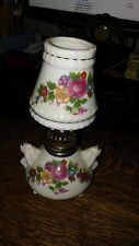 small dainty oil lamp, white with flower motif