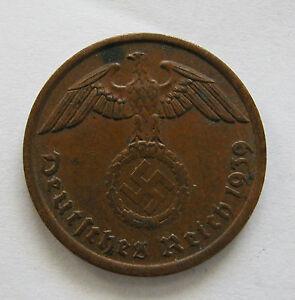 GERMANY- THIRD REICH-BRONZE 2 REICHSPFENNIG 1939 A -KM # 90