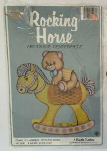 Beistle 1981 Yellow Rocking Horse w/ Bear Art Tissue Centerpiece 55191