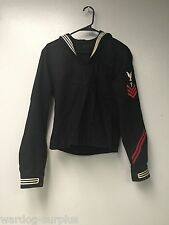 WW II era US NAVY Cracker Jack Blue Wool Pullover Shirt Uniform Naval Top NAMED
