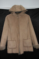 Planet Large Size Fake Fur Lined Beiged Acrylic Blend Hooded Coat