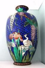 "Japanese Cloisonne Ginbari Vase - Cranes Wisteria Irises - HUGE 18"" TALL!"
