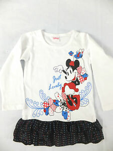 """NEW QUALITY DISNEY """"MINNIE"""" GIRL'S COTTON DRESS WITH RED GLITTER 24MTS - 6YRS"""
