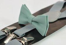 Sage Green Cotton Bow Tie + Grey Suspenders Braces for MEN / BOY KIDS / BABY