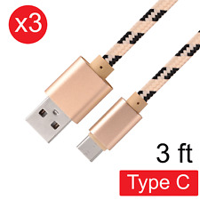 3x USB Type-C Fast Charging Nylon Braided Data Sync Cable Cord for Android 3 FT