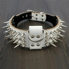 Genuine Leather Spiked Dog Collar 2.0 inch Wide Large Breeds Pit Bull White US