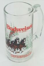 Budweiser 1989 Holiday Clydesdale Glass Beer Mug