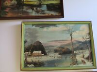 O.F MARSHALL SIGNED PAIR PAINTING AMERICAN FOLK ART EAST COAST WINTER ANTIQUE