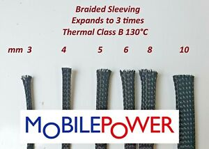 Expandable Braided flexible Sleeving by the metre Black 3 times expansion