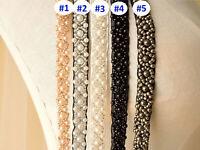 1 Yard Pearl Beaded Trim Chain Bridal Sash Diamante Wedding Ribbon Belt